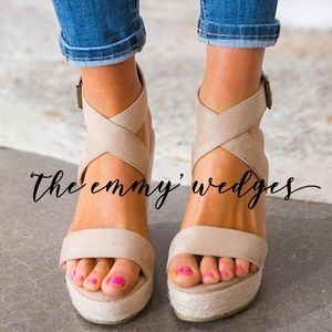 'The Emmy' Suede Wedges In Birch